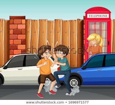 Családon belüli erőszak jelenet emberek harcol utca illusztráció Stock fotó © bluering