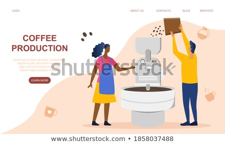 Male Barista Making Coffee in Coffeehouse Vector Stock photo © robuart