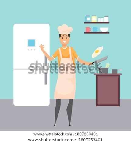 Hobby kulinarny człowiek gotowania jaj wektora Zdjęcia stock © robuart