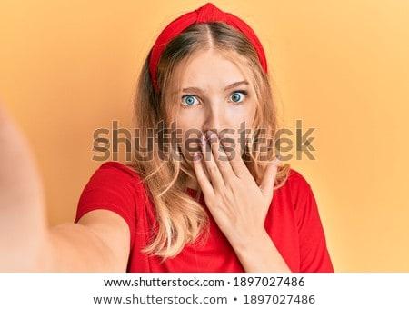 Fotoğraf güzel kafkas kadın sessizlik Stok fotoğraf © deandrobot