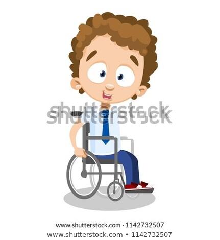Karakter oturma tekerlek sınıf arkadaşları çocuk tekerlekli sandalye Stok fotoğraf © robuart