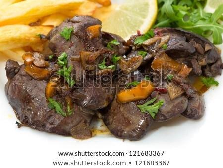 Chicken liver with garlic sauce Stock photo © silent47