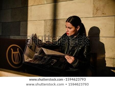 элегантный девушки салон красоты чтение газета моде Сток-фото © JackyBrown
