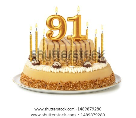 Birthday cake with burning candle number 91 Stock photo © Zerbor