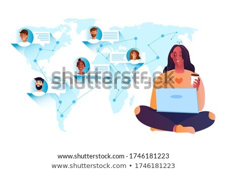 Stockfoto: Jongeren · laptops · kaart · digitale · composiet · vrouw · man