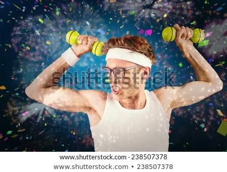 Posa abbigliamento sportivo bianco fitness formazione Foto d'archivio © wavebreak_media