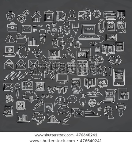 laptop and pen icon drawn in chalk stock photo © rastudio