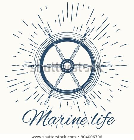 helm and vintage sun burst frame. Marine life Stock photo © netkov1