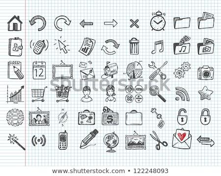 негативных · эскиз · икона · вектора · изолированный · рисованной - Сток-фото © rastudio