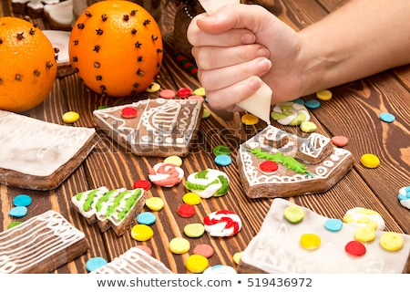 Creation Christmas gingerbread house. Multi-colored parts of gin Stock photo © user_11056481