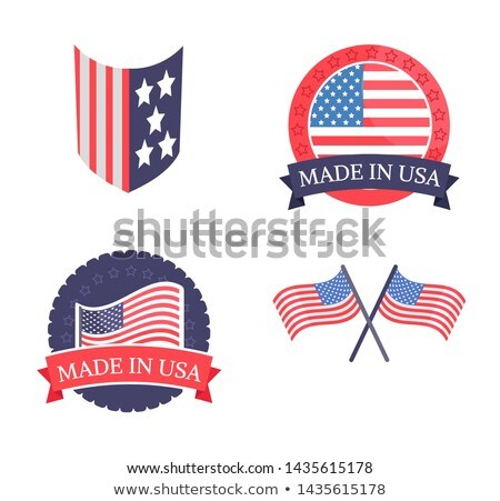 made in usa promo emblems with natinal flag set stock photo © robuart