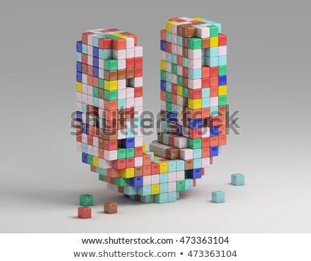 白 キューブ フォント 手紙 3D 3dのレンダリング ストックフォト © djmilic
