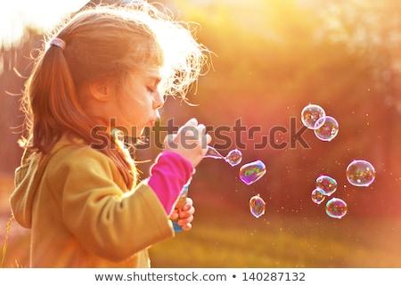Portre kız sabun köpüğü çocuk Stok fotoğraf © konradbak