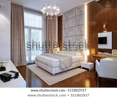 Cozy master bedroom interior with wooden furniture.  Stock photo © iriana88w