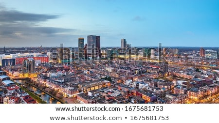 Stad centrum Nederland tulp bloemen kantoor Stockfoto © neirfy