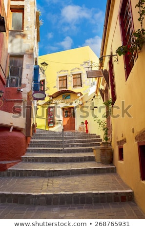 cosy street of Chania, Crete, Greece Stok fotoğraf © neirfy