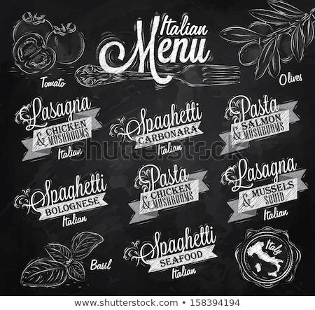 biefstuk · menu · element · Blackboard · illustratie · voedsel - stockfoto © colematt