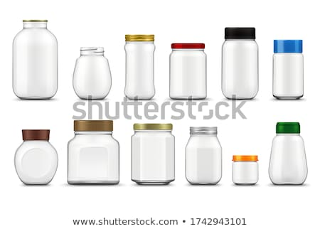 Jar Glass Closed By Golden Cap For Jam Vector Stock photo © pikepicture