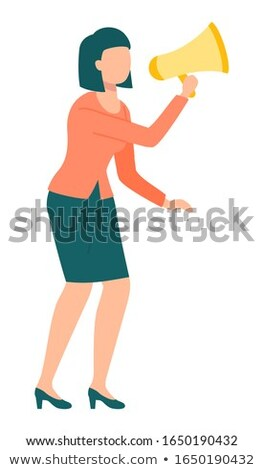 Worker with Megaphone, Attention Equipment Vector Stock photo © robuart