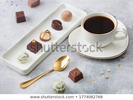 Luxe chocolade witte porselein plaat Stockfoto © DenisMArt
