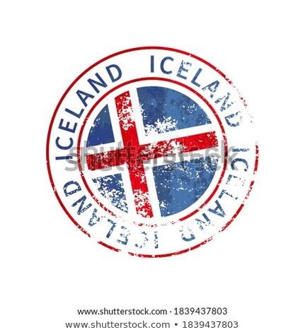 Izland felirat klasszikus grunge lenyomat zászló Stock fotó © evgeny89