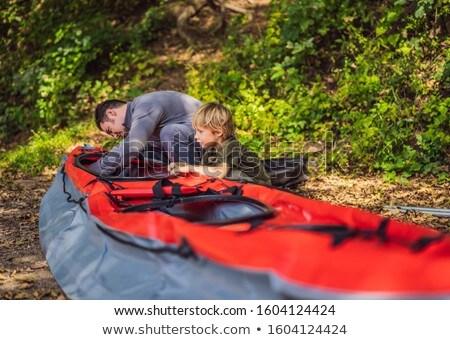 Vader zoon kajak roeien zee hemel sport Stockfoto © galitskaya