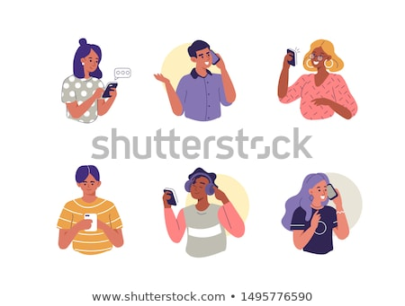 vector set of people using smartphone Stock photo © olllikeballoon