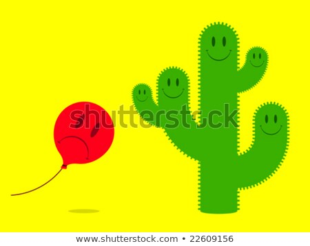 Stock photo: smiley face cactus with scared balloon