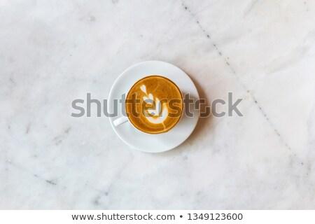 bruin · porselein · beker · melk · koffie · geïsoleerd - stockfoto © prill