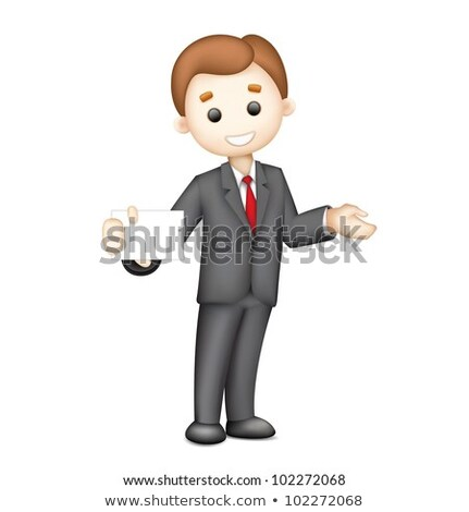Man Showing A Business Card 3d Business Man Character Design Stockfoto © Vectomart