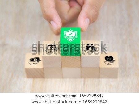 Brinquedo de madeira blocos colorido isolado branco educação Foto stock © taden