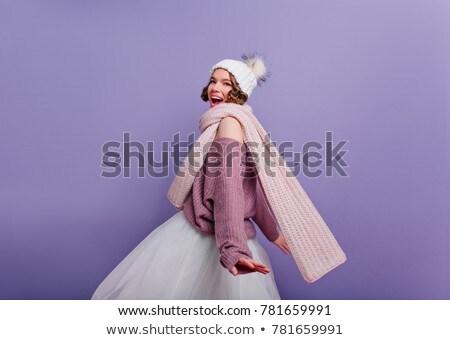 Gyönyörű fiatal barna hajú nő rövid szoknya Stock fotó © Nejron