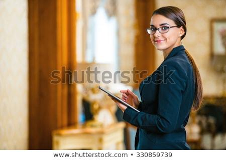 美人 タブレット ホテル ロビー 座って ストックフォト © d13
