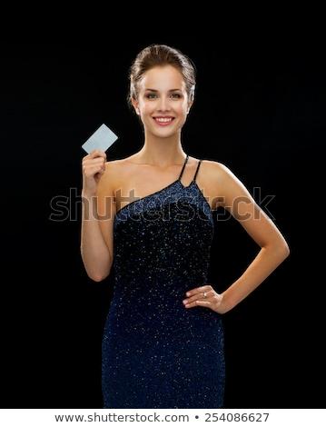 Stock fotó: Nő · estélyi · ruha · műanyag · kártya · közelkép · gyönyörű · nő