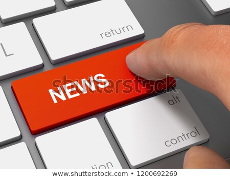 Finger Presses Orange Keyboard Button Media News. Stock photo © tashatuvango