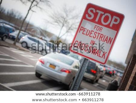 зеленый автомобилей за пешеход дорожный знак белый Сток-фото © DedMorozz