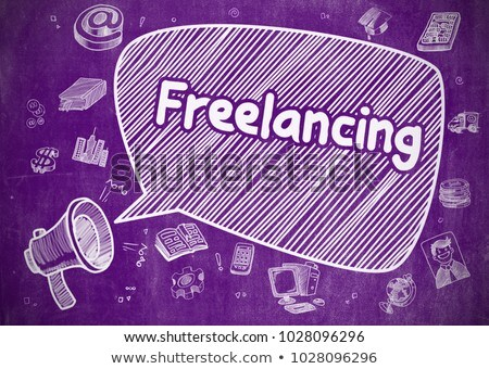 freelancing   doodle illustration on purple chalkboard stock photo © tashatuvango