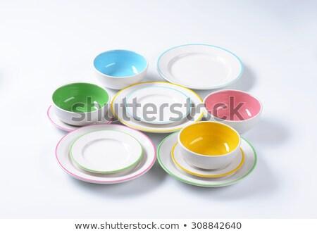 Establecer placas bolos limpio objetos Foto stock © Digifoodstock