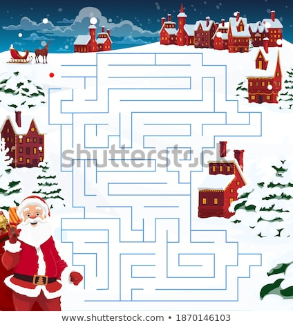 Santa in maze game template Stock photo © colematt