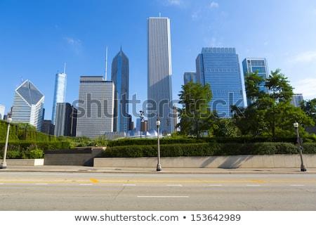 Utca épületek kék ég Chicago USA utazás Stock fotó © vwalakte