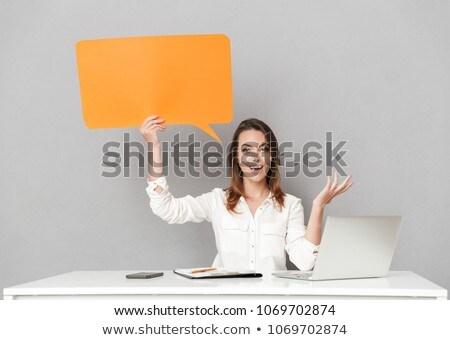 Asombroso feliz mujer hermosa ordenador portátil imagen Foto stock © deandrobot