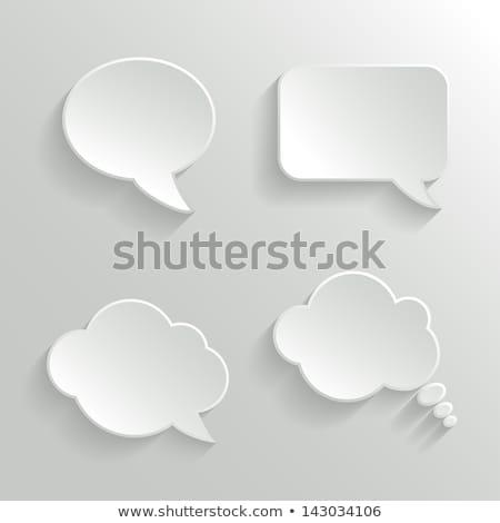 White paper speech bubbles on gray background. Vector illustration Stock photo © olehsvetiukha