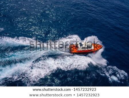 Pilots boat aerial view sailing in blue ocean Stock photo © lunamarina