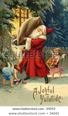 Old Elf with Gifts Bag on Christmas Greeting Card Stock photo © robuart