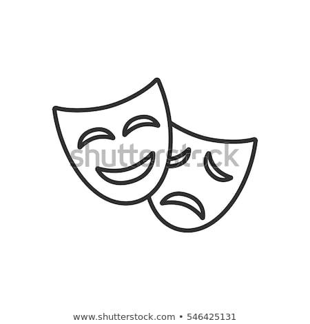 Szczęśliwy smutne dramat maska proste Zdjęcia stock © evgeny89