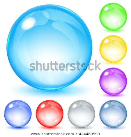 Set of yellow glossy marble balls with glare on white Stock photo © evgeny89
