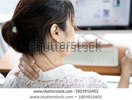 Kobieta interesu ból barku pracy komputera biurko biuro Zdjęcia stock © AndreyPopov