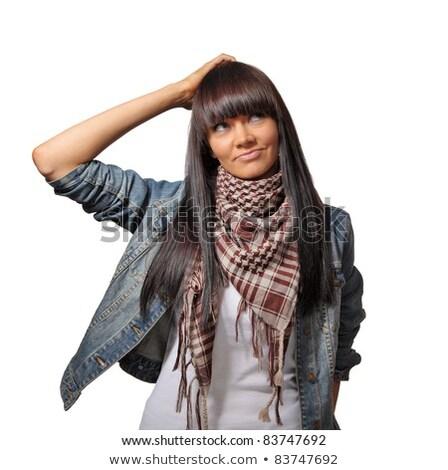 Imagen morena adulto mujer pensando mirando Foto stock © deandrobot