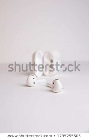 Witte draadloze hoofdtelefoon Blauw ontwerp kleuren Stockfoto © goir