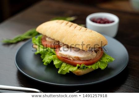 Baguette Turquie sein déjeuner table café Photo stock © Zerbor